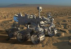 The Mars Rover on Mars 3D Illustration. 3D Illustration The Mars Rover on Mars Royalty Free Stock Photo