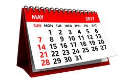 3d may 2017 calendar. 3d illustration of may 2017 calendar isolated over white background Stock Images