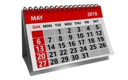 may 2018 calendar Royalty Free Stock Photo