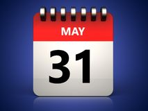 3d 31 may calendar. 3d illustration of 31 may calendar over blue background Royalty Free Stock Photos