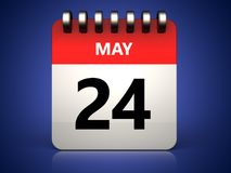 3d 24 may calendar. 3d illustration of 24 may calendar over blue background Royalty Free Stock Images