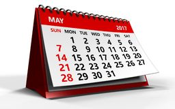 May 2017 calendar. 3d illustration of may 2017 calendar over white background with shadow Royalty Free Stock Images