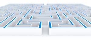 3D Illustration the maze, labyrinth concept Stock Images