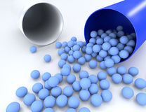 3D illustration of medical pill with small capsules Stock Photos
