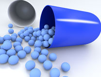 3D illustration of medical pill with small capsules Stock Image