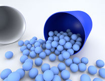 3D illustration of medical pill with small capsules. Isolated Royalty Free Stock Photography