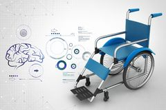 Medical wheel chair with virus in color background. 3d illustration of Medical wheel chair with virus  in color background Royalty Free Stock Photo