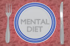 Mental Diet concept. 3D illustration of MENTAL DIET title on a white plate, along with silver knif and fork, on a pale red background Stock Images