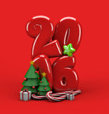 3d illustration Merry Christmas 2016 typography. Christmas 3d illustration greeting card with number 2016 gift boxes, candy stick bars and fir trees decorated Stock Photos