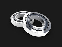 3d illustration of metal bearings. on black background. 3d illustration of metal bearings, on black background Royalty Free Stock Photography
