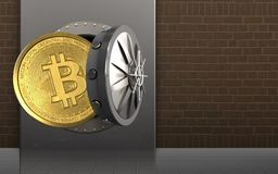 3d bitcoin over bricks. 3d illustration of metal box with bitcoin over bricks background Royalty Free Stock Photos
