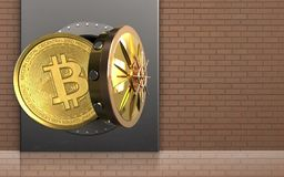 3d bitcoin over bricks wall. 3d illustration of metal box with bitcoin over bricks wall background Royalty Free Stock Photography