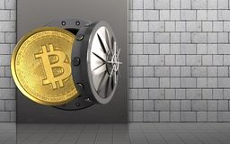 3d bitcoin over white stones. 3d illustration of metal box with bitcoin over white stones background Stock Photo