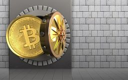 3d bitcoin over white stones. 3d illustration of metal box with bitcoin over white stones background Stock Image