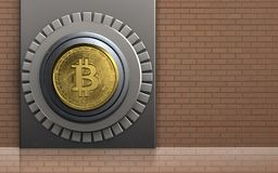 3d safe metal box. 3d illustration of metal box with bitcoin safe over bricks wall background Stock Photography