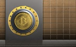 3d safe metal box. 3d illustration of metal box with bitcoin safe over golden wall background Stock Images