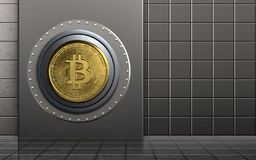 3d metal box safe. 3d illustration of metal box with bitcoin safe over steel wall background Stock Photos