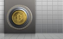 3d bitcoin safe safe. 3d illustration of metal box with bitcoin safe over white wall background Royalty Free Stock Photo