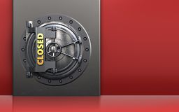 3d safe metal box. 3d illustration of metal box with closed vault door over red background Stock Photography