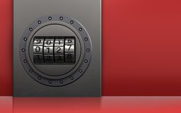 3d metal box code dial. 3d illustration of metal box with code dial over red background Stock Photo