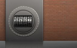 3d safe metal box. 3d illustration of metal box with code dial over red bricks background Royalty Free Stock Images