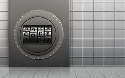 3d metal box safe. 3d illustration of metal box with code dial over white wall background Royalty Free Stock Images