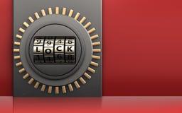 3d code lock door metal box. 3d illustration of metal box with code lock door over red background Stock Photography