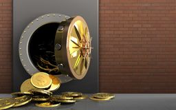 3d dollar coins over red bricks Stock Image
