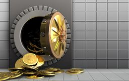 3d dollar coins over white wall Stock Photo