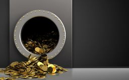 3d golden coins over black. 3d illustration of metal box with golden coins over black background Royalty Free Stock Photos