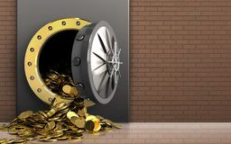 3d golden coins over bricks wall Stock Images