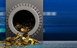 3d golden coins over cyber. 3d illustration of metal box with golden coins over cyber background Stock Images