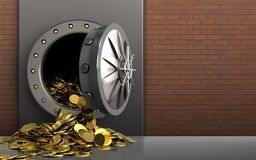 3d golden coins over red bricks Royalty Free Stock Images