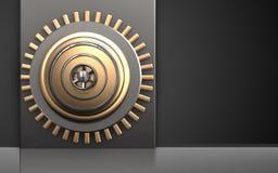3d safe safe. 3d illustration of metal box with golden vault door over black background Royalty Free Stock Photo