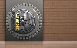 3d security door safe. 3d illustration of metal box with security door over bricks wall background Royalty Free Stock Photography