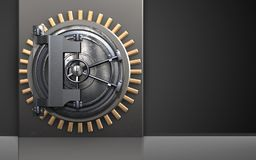 3d safe metal box. 3d illustration of metal box with steel door over black background Stock Photography