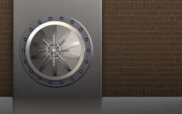 3d metal box safe. 3d illustration of metal box with vault door over bricks background Stock Images