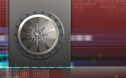 3d metal box metal box. 3d illustration of metal box with vault door over digital red background Royalty Free Stock Photos