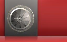 3d metal box vault door. 3d illustration of metal box with vault door over red background Stock Image