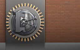 3d safe vault door. 3d illustration of metal box with vault door over red bricks background Stock Photography