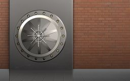 3d vault door safe. 3d illustration of metal box with vault door over red bricks background Royalty Free Stock Image
