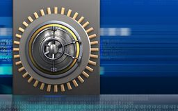 3d metal box metal box. 3d illustration of metal box with wheel door over cyber background Stock Photos