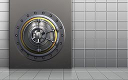 3d safe metal box. 3d illustration of metal box with wheel door over white wall background Royalty Free Stock Photography