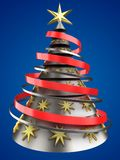 3d metal Christmas tree. 3d illustration of metal Christmas tree over blue background with decoration Stock Image
