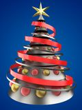3d metal Christmas tree. 3d illustration of metal Christmas tree over blue background with glass balls Royalty Free Stock Photos