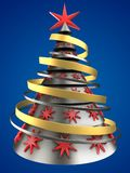 3d metal Christmas tree. 3d illustration of metal Christmas tree over blue background with red stars decoration Royalty Free Stock Photography