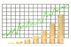 3d illustration: Metal copper-gold coins graph chart stock market  with green line - arrow on a white background isolated. Profit Stock Image
