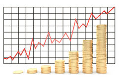 3d illustration: Metal copper-gold coins graph chart stock market  with red line - arrow on a white background isolated. Profit in. Crease Stock Photo