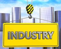 3d crane hook with metal industry sign. 3d illustration of metal industry sign with crane hook over city background Stock Photos