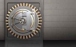 3d metal safe metal safe. 3d illustration of metal safe with bank door over iron wall background Royalty Free Stock Photography